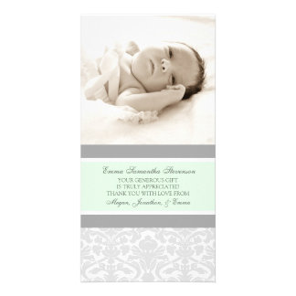 Mint Grey Thank You Baby Shower Photo Cards