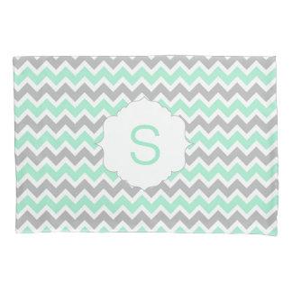 Mint Grey White Chevron Monogram pillow case