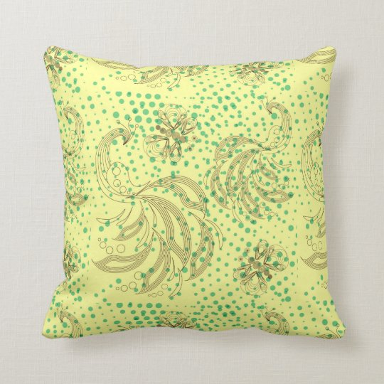 Mint halftones with butterfly pattern throw pillow