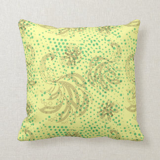 Mint halftones with butterfly pattern throw pillows