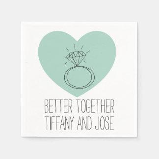"""Mint Heart """"Better Together"""" Engagement Napkin Paper Napkins"""