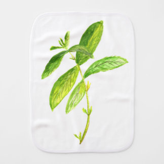 Mint herb Mint watercolour Mint print Burp Cloth