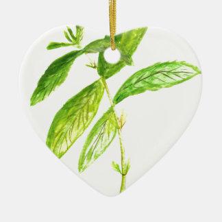Mint herb Mint watercolour Mint print Ceramic Heart Ornament
