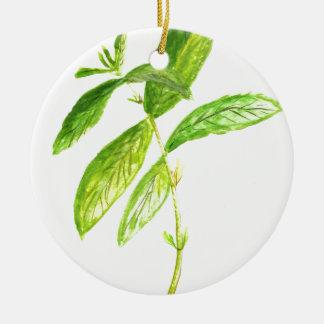 Mint herb Mint watercolour Mint print Round Ceramic Ornament
