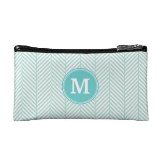 Mint Herringbone Custom Monogram Cosmetic Bag