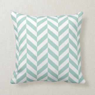Mint Herringbone Print Throw Pillow