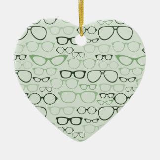 Mint Hipster Glasses Ceramic Heart Ornament