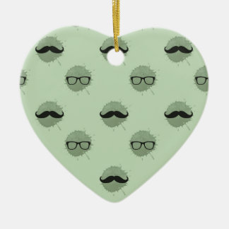 Mint Hipster Mustaches Christmas Ornament