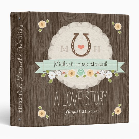 MINT HORSESHOE HEART WESTERN WEDDING BINDER ALBUM