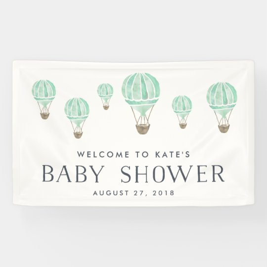 Mint Hot Air Balloon Baby Shower Banner