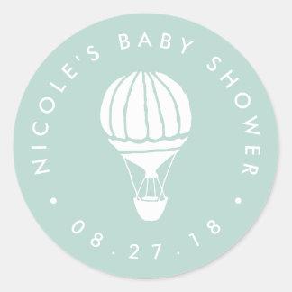 Mint Hot Air Balloon Baby Shower Round Sticker