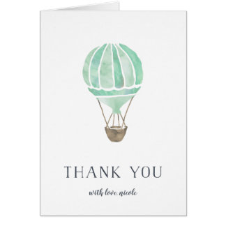 Mint Hot Air Balloon Personalized Thank You Card