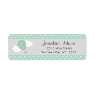 Mint Hot Air Balloon Return Address Labels