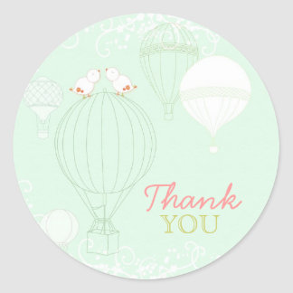 Mint Hot Air Balloons Wedding Thank You Stickers