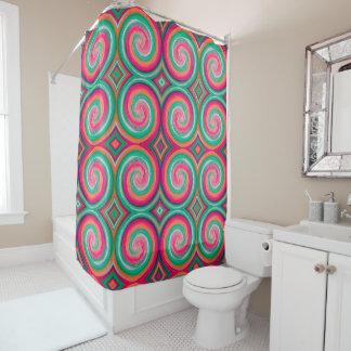 Mint Hot Pink Abstract Swirl Pattern
