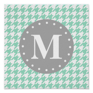 Mint Houndstooth Pattern Grey Monogram Poster