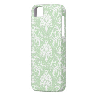 Mint Ice Cream Green and white vintage damask iPhone 5 Case