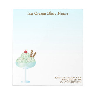 Mint Ice Cream Sundae Ice Cream Shop Business Notepad