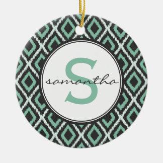Mint Ikat Monogram Round Ceramic Ornament