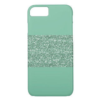 Mint iPhone 7 Case with faux Green Glitter