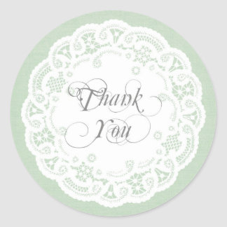 Mint Lace Doily Thank You Stickers