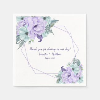 Mint Lavender Purple Watercolor Peonies Reception Paper Napkin