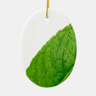 Mint Leaf Ceramic Oval Ornament