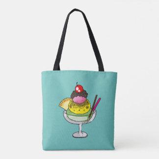 mint lemon and strawberry ice cream tote bag