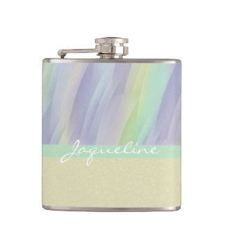 Mint Lilac yellow Abstract Hip Flask