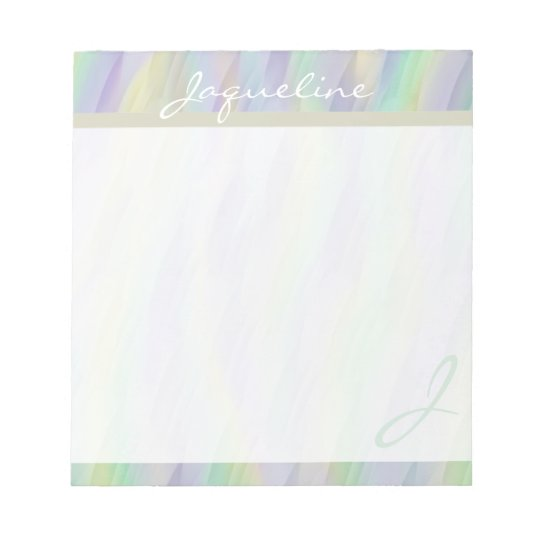 Mint Lilac Yellow Monogram Notepad