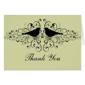 Mint Love Bird Swirls Thank You Card