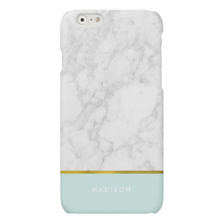 Mint Marble Pattern and Faux Gold Foil