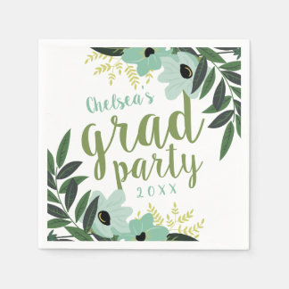 Mint Modern Floral Personalized Grad Party Paper Napkin