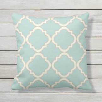 Mint Modern Moroccan Quatrefoil Throw Pillow
