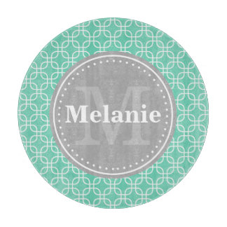Mint Modern Squares Pattern Grey Monogram Boards