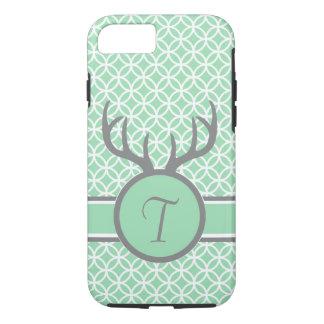 Mint Monogram Antlers iPhone 7 Case
