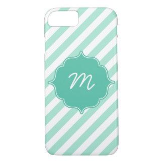 Mint Monogram Diagonal Stripes Quatrefoil iPhone 7 Case