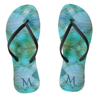 Mint Monogram Geometric Beach Pattern Flip Flops