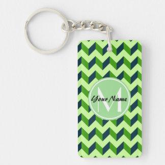 Mint Monogram Green Chevron Patchwork Pattern Double-Sided Rectangular Acrylic Keychain