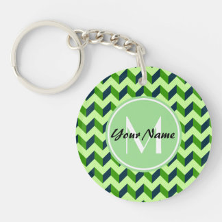 Mint Monogram Green Chevron Patchwork Pattern Double-Sided Round Acrylic Keychain