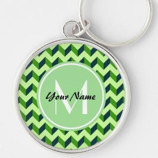 Mint Monogram Green Chevron Patchwork Pattern Silver-Colored Round Keychain