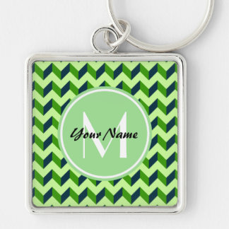Mint Monogram Green Chevron Patchwork Pattern Silver-Colored Square Keychain