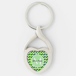 Mint Monogram Green Chevron Patchwork Pattern Silver-Colored Twisted Heart Keychain