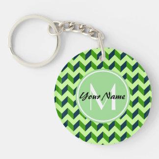Mint Monogram Green Chevron Patchwork Pattern Single-Sided Round Acrylic Keychain