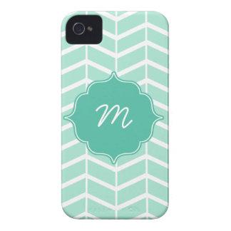 Mint Monogram Herringbone Quatrefoil iPhone 4 Case-Mate Case