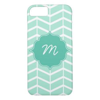 Mint Monogram Herringbone Quatrefoil iPhone 7 Case