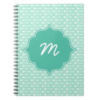 Mint Monogram Tiny Arrows Quatrefoil Notebook
