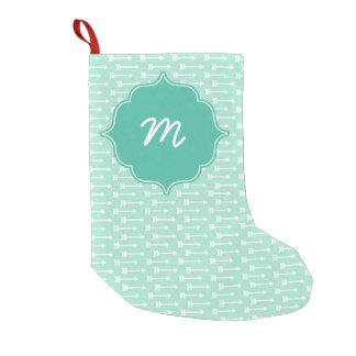 Mint Monogram Tiny Arrows Quatrefoil Small Christmas Stocking