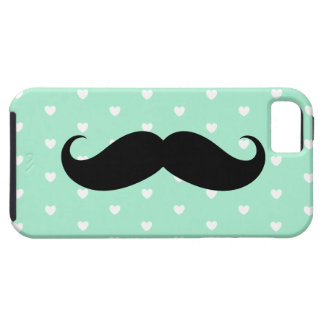Mint Mustache Hearts Patterned iPhone 5 Case