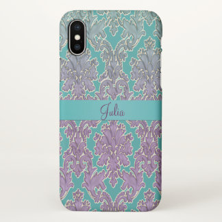 Mint n Mauve Damask Personalized iPhone X Case
